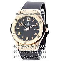 Кварцевые часы Hublot SSB-1012-0200  мужские черные каучуковые без стразов   классика
