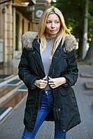 Женская зимняя куртка парка с натуральним мехом енота есть большие размеры