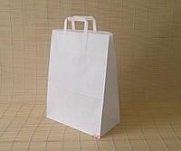 Пакеты с плоскими ручками 320х260х150 мм., белый крафт, 70 г.