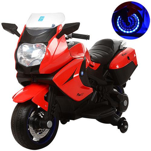 Детский Мотоцикл BMW М 3208 красный, заводится ключом, плавный старт, колеса мягкие EVA, мягкое сиденье