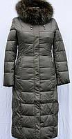 Пальто зимнее женское длинное (холлофайбер) SHENOWA с мехом