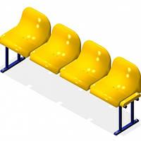 Скамья для отдыха с пластиковыми сиденьями