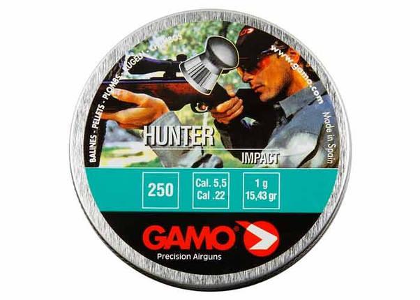Gamo Hunter 5.5. Пули Gamo Hunter 5,5 мм 1 г 250 шт. Пули для спортивной стрельбы, для пневматического оружия, фото 2