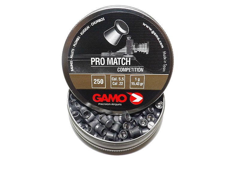 Gamo Pro Match 5.5 мм 250 шт 1 г. Пневматические пули Gamo Pro Match, плоские. 5 5мм пули Gamo