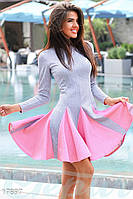 Женское спортивное платье. Цвет серо-розовый меланж.