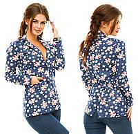 Женский джинсовый пиджак с цветочным принтом