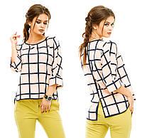 Женская ассиметричная блузка в клетку
