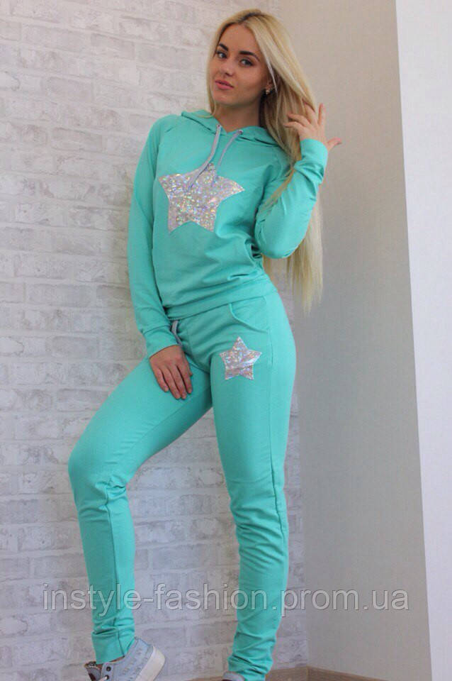Женский спортивный костюм со звездой ткань двухнитка цвет мята