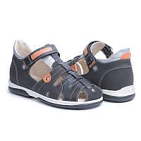 Memo Palermo Черные (нубук) - сандалии ортопедические детские