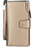 Золотой женский стильный кожаный кошелек-клатч  Baellerry