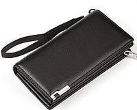 Черный мужской кожаный кошелек клатч бумажник Baellerry