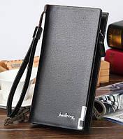 Черный мужской кожаный кошелек-клатч бумажник Baellerry