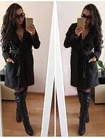 Женское пальто из кашемира мех искуственный сьемный