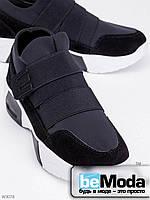 Эффектные кроссовки женские Gallop Black из искусственного замша и стрейч текстиля с оригинальной застежкой на белой подошве черные