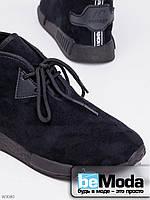 Удобные ботиночки женские Vintage Black из качественного искусственного замша на плоской подошве и шнуровке черные