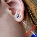 Серебряные серьги-гвоздики Коронка, фото 2