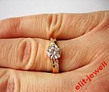 Серебряное кольцо с позолотой 17,5 размер, фото 4