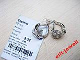 Родированые изящные серебряные серьги, фото 3