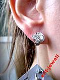 Родированые изящные серебряные серьги, фото 5