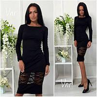 Платье миди с гипюровой вставкой черное