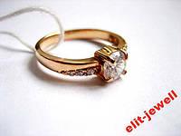 Серебряное кольцо с позолотой 16,5 размер, фото 1