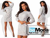 Нарядное женское платье с карманами по бокам и рукавами 3/4 из гипюра на шерсти белое
