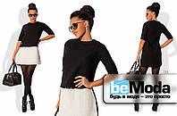 Милое женское двухцветное платье из качественной рогожки шанель черное