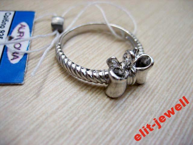 Серебряное кольцо Бантик размер 16.5