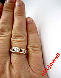 Кольцо - серебро с золотом - 16 р. живое фото, фото 3