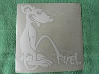 Наклейка vc топливо универсальная 113х100мм белая Мышка Мышь на топливный бак бензобак бензин дизель