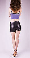 Женские шорты утяжка в кожзаме, черные