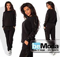 Стильный женский спортивный костюм из качественной двунитки с декором из пайеток на рукавах и брюках черный