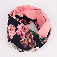 Розово-фрезовый снуд с цветочным принтом, фото 1