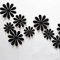 Объемные 3D цветы на стену черные.