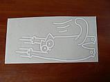 Наклейка vc Кот Саймона Царапка 140х253мм №4 белый виниловая контурная на авто, фото 4