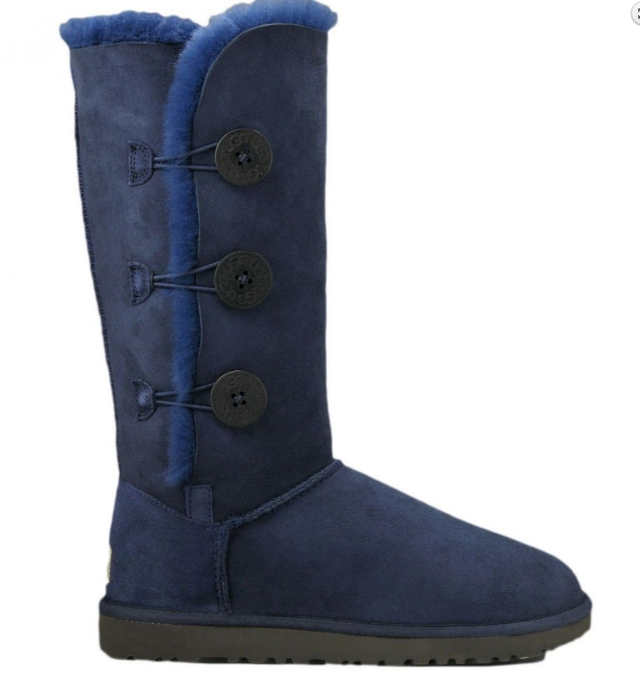 UGG Bailey Button Triplet Bling Blue Gold женские коричневые