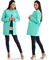 Женское короткое кашемировое пальто на пуговицах с карманами цвет мята