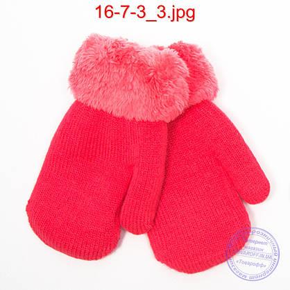Детские шерстяные варежки с меховой подкладкой - №16-7-3, фото 3
