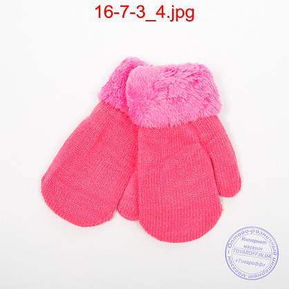 Детские шерстяные варежки с меховой подкладкой - №16-7-3, фото 2