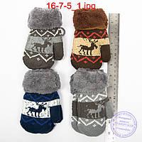Детские шерстяные варежки с меховой подкладкой - №16-7-5, фото 1