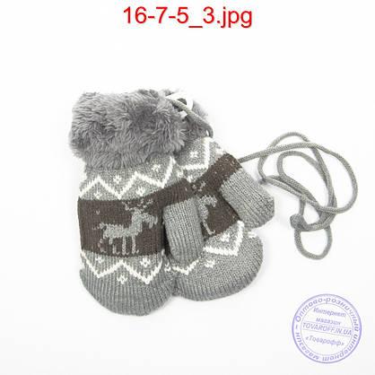 Детские шерстяные варежки с меховой подкладкой - №16-7-5, фото 3