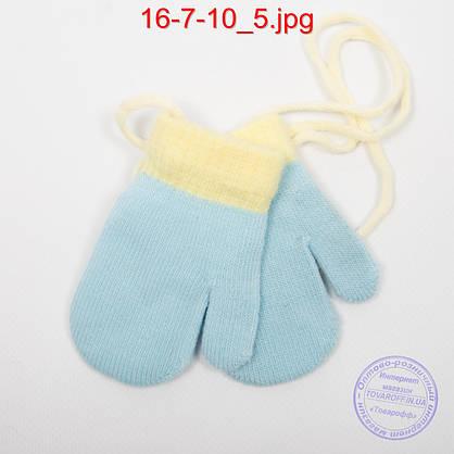 Детские акриловые варежки со шнурочком - №16-7-10, фото 3