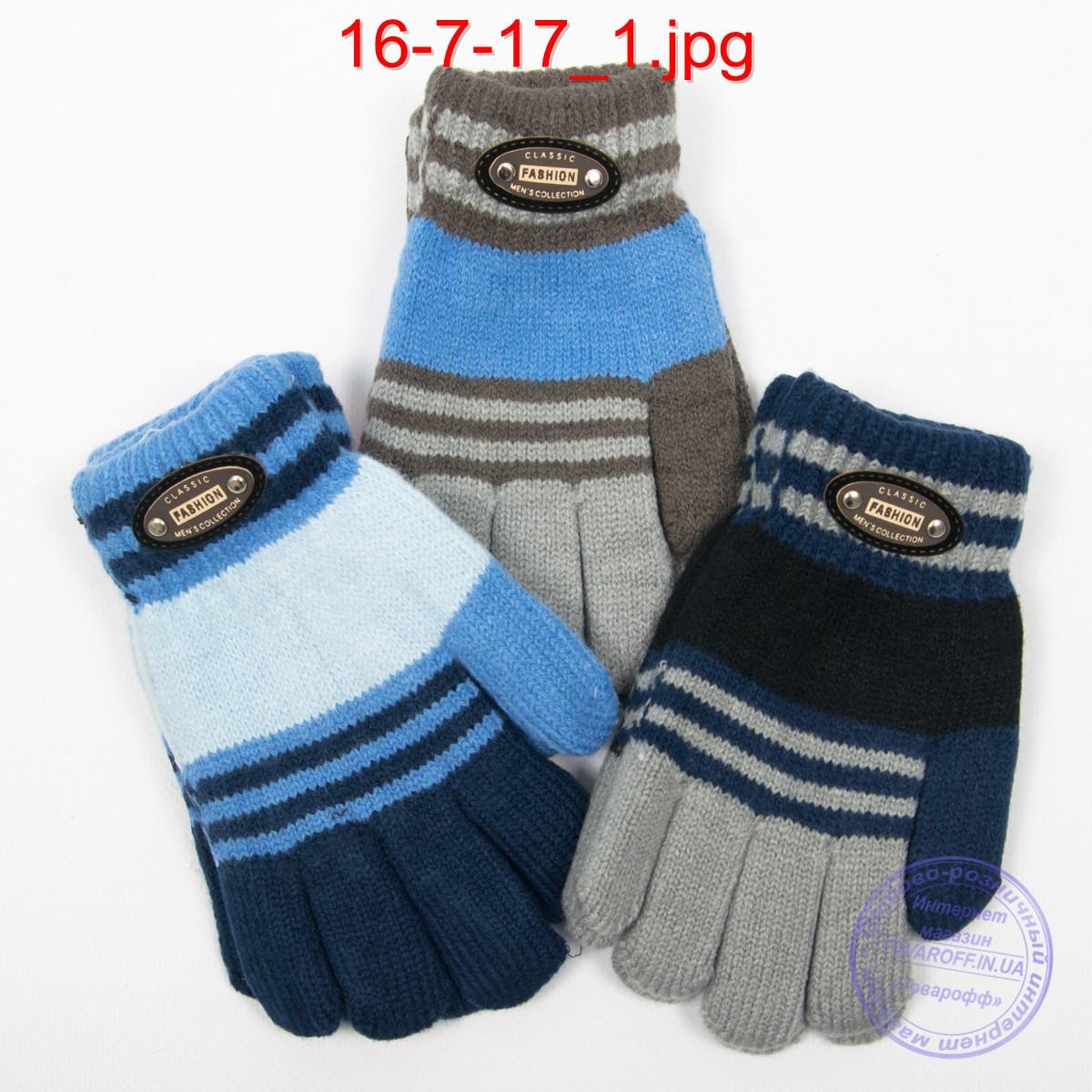 Шерстяные перчатки для мальчиков двойные - №16-7-17