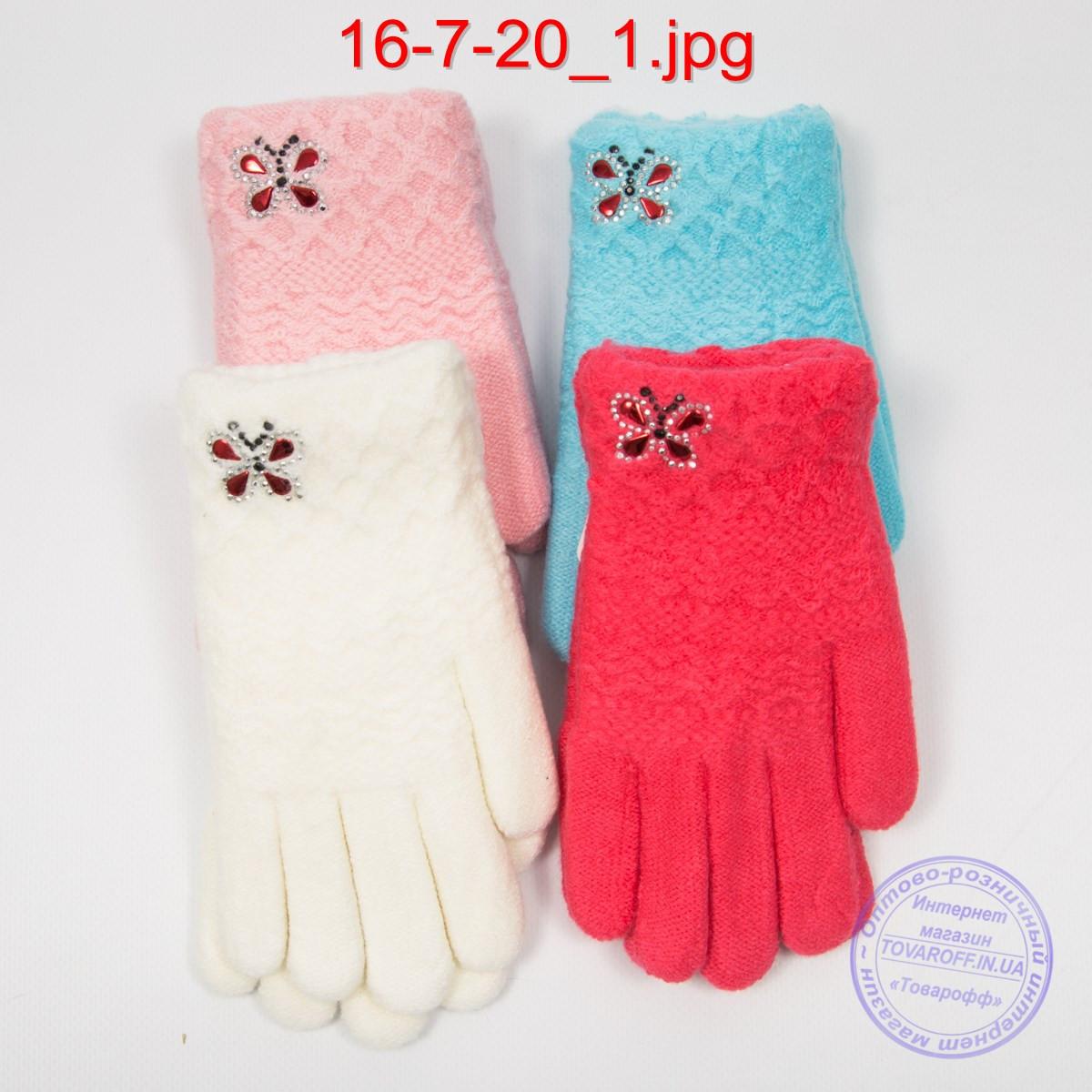 Шерстяные перчатки для девочек двойные - №16-7-20