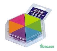 Блок бумаги для заметок, треугольный, 6 цв.  150