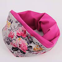 Серый цветочный шарф + фуксия, фото 1