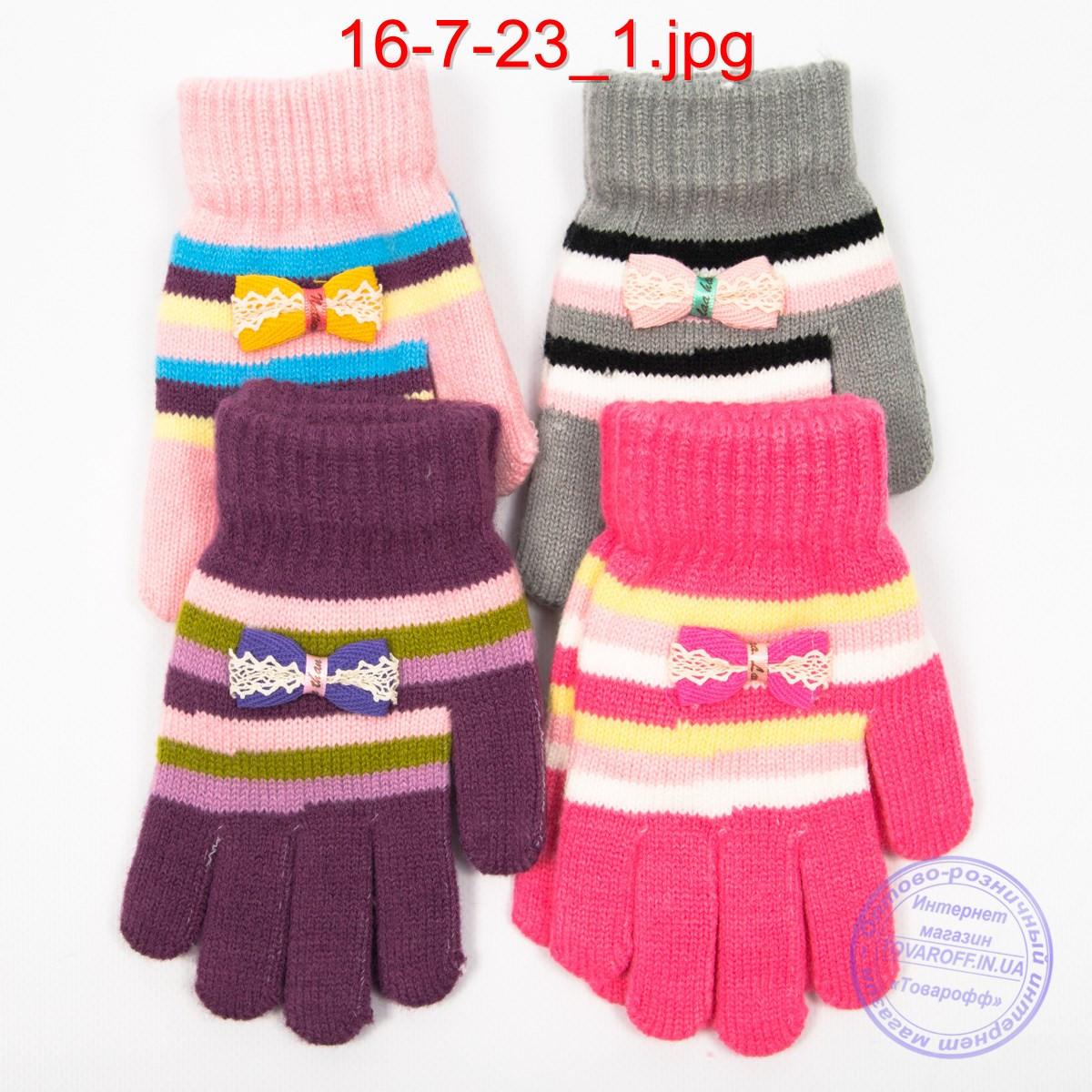 Шерстяные перчатки для девочек - №16-7-23
