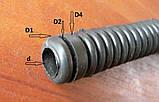 Трубка защитная защита проводки двери Г-образная L=122мм d=9.5мм D=15мм гофрированная тонкая Awel Запорожье, фото 3