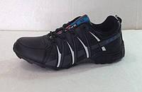 Мужские кроссовки демисезонные чёрные с полосками К-01006
