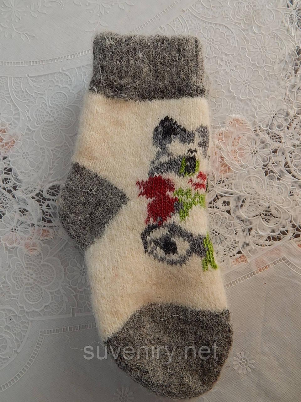 Детские ангоровые носочки с кошкой